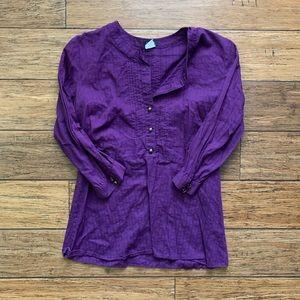 Purple Flowy Long Sleeve Blouse